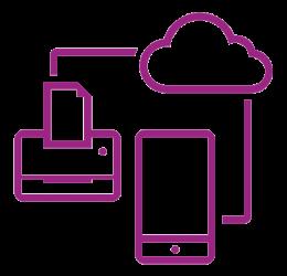 Icône violette réseau sécurisé